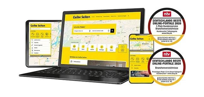 Verbraucher wählen Gelbe Seiten in die Top 3 der besten Online-Portale Deutschlands